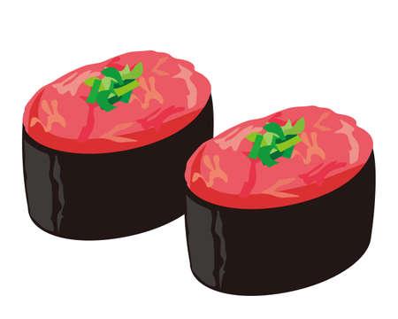 Vector illustration of Minced tuna roll . Tuna sushi 向量圖像