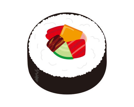 Vector illustration of seaweed roll . Thick Sushi Roll