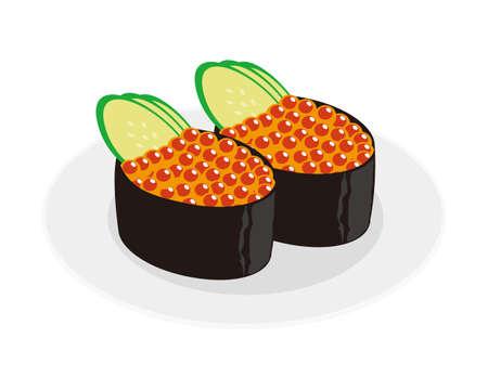 Vector illustration of salmon roe sushi.  Battle Ship Rolls