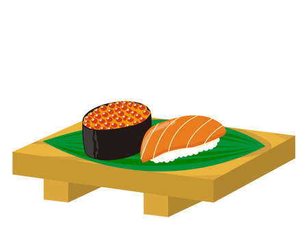 Vector illustration of salmon roe warship and salmon nigiri sushi . Battle Ship Roll Ilustracja
