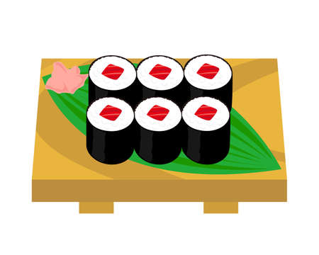 Vector illustration of seaweed roll . sushi roll . Tuna seaweed roll