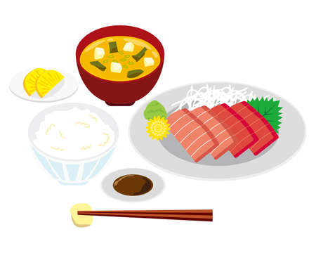 Vector illustration of tuna sashimi and Rice and miso soup .
