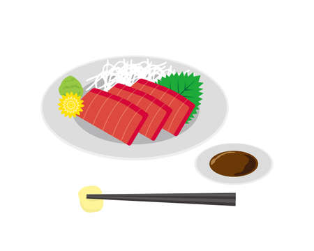 Vector illustration of tuna sashimi . raw fish