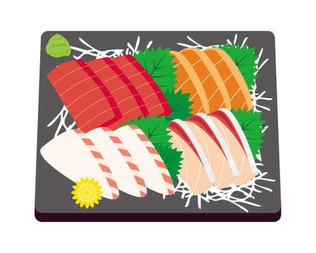 Vector illustration of yellowtail, sea bream, salmon and tuna 일러스트