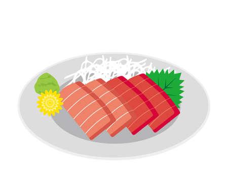 Vector illustration of tuna sashimi . raw fish