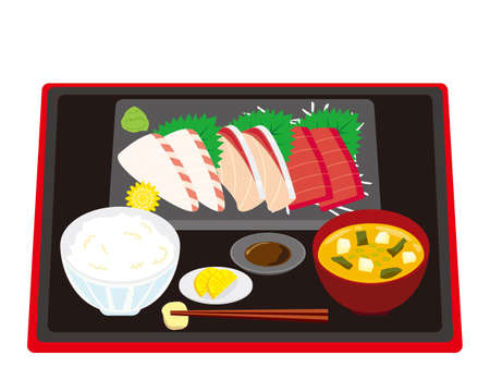 Vector illustration of yellowtail, sea bream and tuna. Rice and miso soup