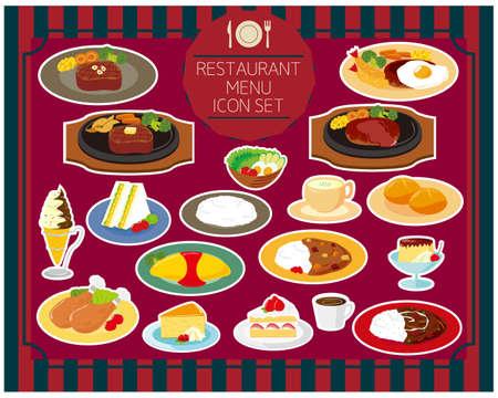 Restaurant menu vector illustration icon set .
