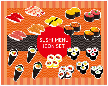 Sushi slice icon stock, tuna, shrimp, thick rolled sushi