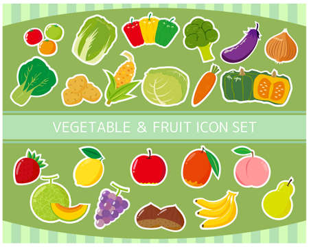 Fruit and vegetable vector illustration icon set