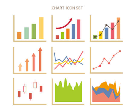 Graph vector illustration set.  Line graph . Stock price. Rising chart. Bar graph