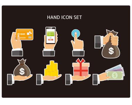 Financial / banking vector illustration set. Money icon. Hand icon