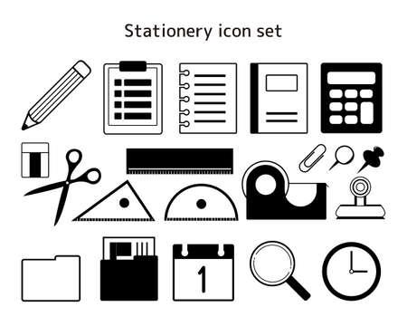 Stationery vector illustration set. Pencil. clock. Note