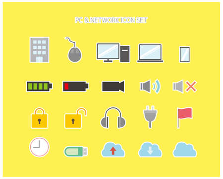 PC and network related vector illustration. icon set .