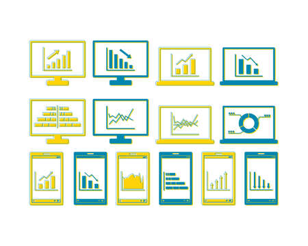 Display the graph on the screen and vector illustration of the personal computer and  Smartphone, tablet
