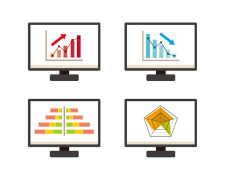 Display the graph on the screen and vector illustration of the personal computer 矢量图像
