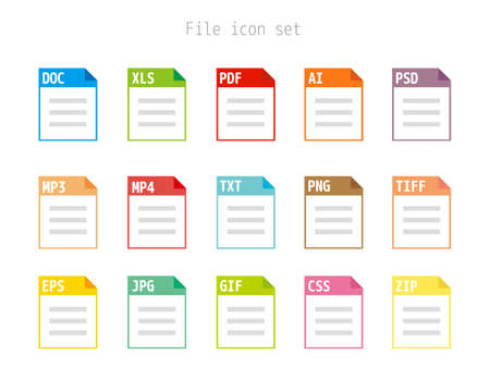 Vector illustration of saved file / Set of image files, documents, software icons