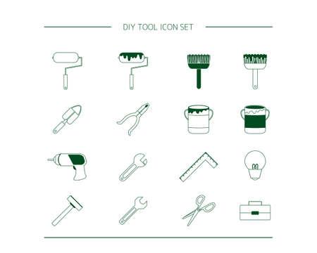 DIY vector illustration set. Do-it-yourself carpenter. tool