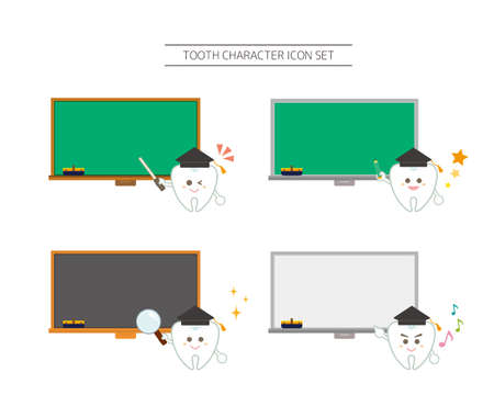Vector illustration set of tooth characters. Orthodontics