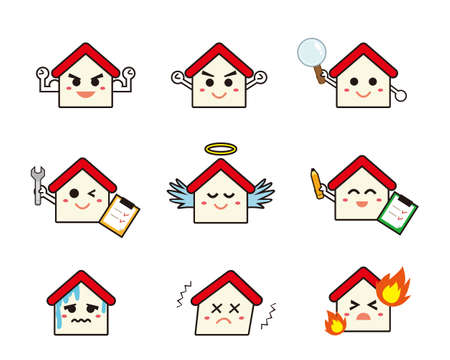 Vector illustration of a house character. House . Home insurance.