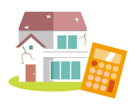 Illustration of a residence. House illustration. simple. Home insurance  イラスト・ベクター素材