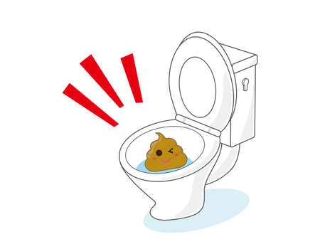 Vector illustration of poop and toilet. Health.