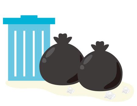 Vector illustration of trash in a trash bag .