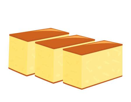 Vector illustration of castella. Japanese sweets.