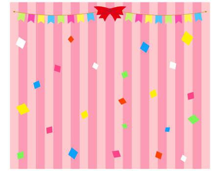 Vector illustration of festive ribbon and confetti. Kusudama .