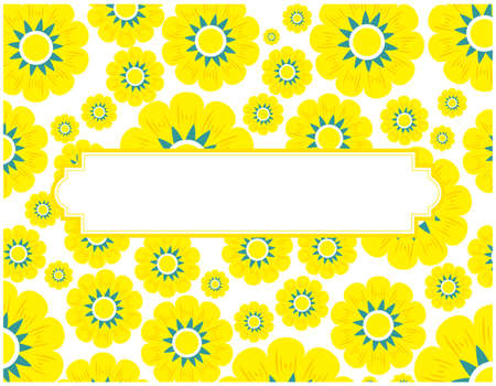 Colorful flower message card background frame.