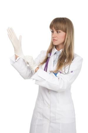 guanti infermiera: dottoressa attraente