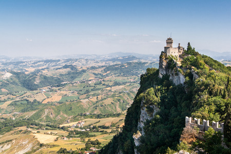 san marino: The Cesta is second of the three towers in San Marino Stock Photo