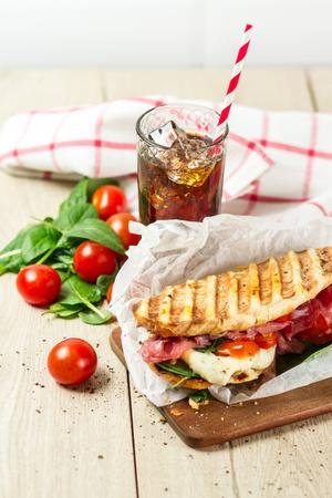Hot panini with cola