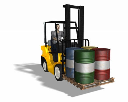 machine operator: High resolution 3d render. Fork lift loading 4 barrels