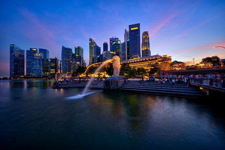 머 라이언 공원, 마리나 베이, 싱가포르에서 일몰