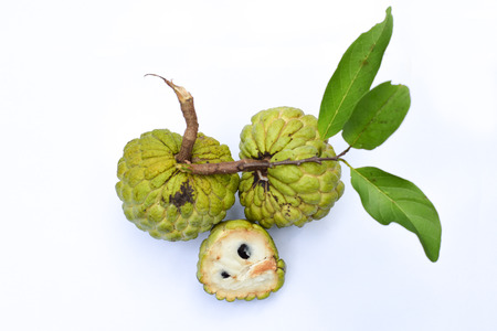 Sugar Apple custard apple, annona white background Stock Photo
