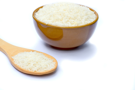 Rice is in a bowl white background.