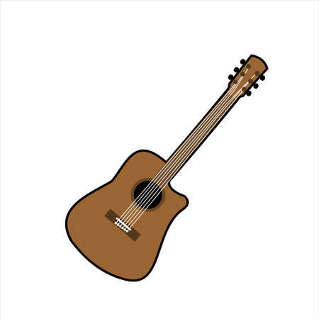 Cartoon illustration of an acoustic guitar musical instrument