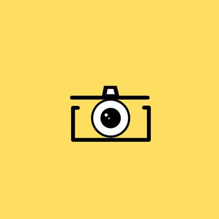 very simple and cool photo camera line illustration