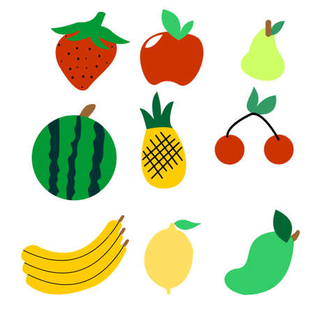 Cartoon illustration of fresh fruits Ilustração