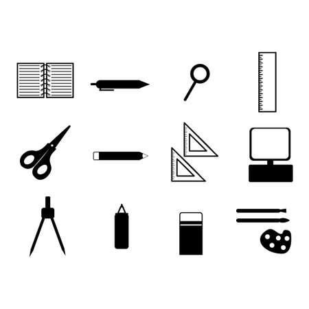 illustration of stationery bundle icon, book, pen, pencil, etc. 矢量图像