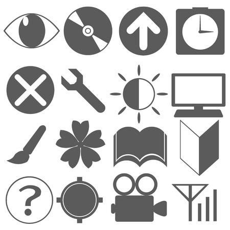 Icon material beginner mark TV alarm clock DISC brightness cherry Sun book eye GPS communication, etc.