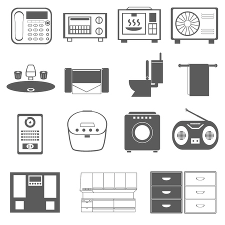 Appliances household furniture phone radio cooker toilet closet microwave toaster oven washing machine, etc.