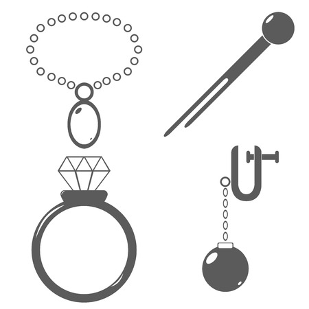 Accessories jewelry fashion hairpin necklace ring earring illustrations icons