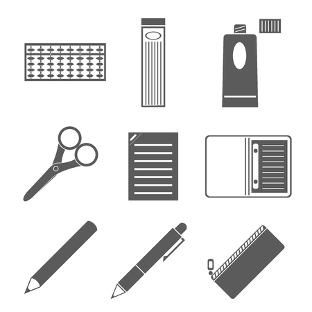 Icon material stationery Shah core pen abacus scissors Notepad glue pencil pencil notes