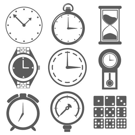 Clock hourglass Alarm Clock Pocket watch measuring instrument dice number illustration icon Иллюстрация