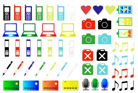 Colored icon Illustration mobile phone PC Camera Battery notes Microphone card pen heart etc