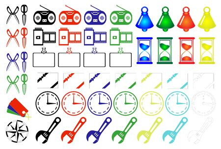 Icon material color hourglass clock bell scissors wrench set film camera radio notification etc.