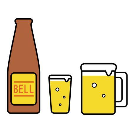 Beer Bottle Glass Mug Illustration Icon