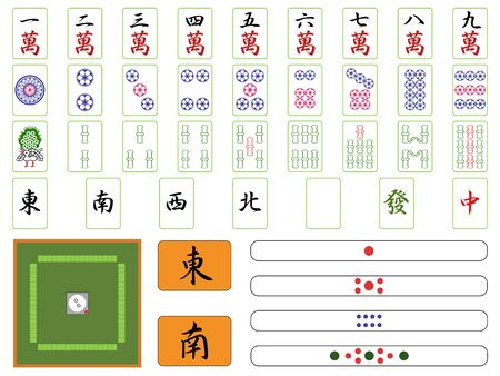 Mahjong Mahjong Tiles Point Bar Sparrow Table Illustration Icon