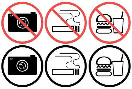 Camera Shooting Smoking Smoking No Food And Beverage Mark Prohibited Use Prohibited Illustration Note